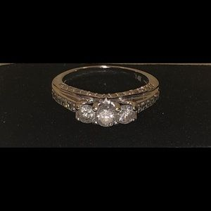 Jewelry - 14K WHITE Gold & Diamonds engagement ring Size 6